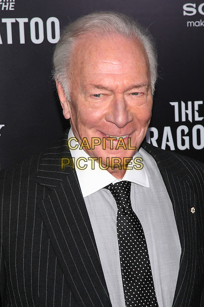"Christopher Plummer.""The Girl With The Dragon Tattoo"" New York Premiere, New York City, NY, USA..December 14th, 2011.headshot portrait white collar grey gray shirt pinstripe black polka dot.CAP/LNC/TOM.©TOM/LNC/Capital Pictures."