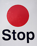 Red circle stop sign used on railway