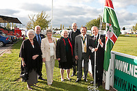 Lord Lieutenant of Nottinghamshire Sir Andrew Buchanan (right) and President of the Newark & Nottinghamshire Agricultural Society Mitch Stevenson OBE (second from right) raise the flag to start the show at Friday night's dinner. Also pictured from left are Anne Sheldon, chairman's wife, Chairman Bob Sheldon, Jan Stevenson president's lady, Lady Belinda Buchanan and the Very Rev John Guille