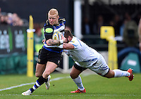 Tom Homer of Bath Rugby looks to get past Alex Brown of Exeter Chiefs. Aviva Premiership match, between Bath Rugby and Exeter Chiefs on October 17, 2015 at the Recreation Ground in Bath, England. Photo by: Patrick Khachfe / Onside Images