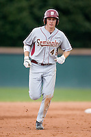 Jack Rye (46) of the Florida State Seminoles rounds the bases following his 2-run home run versus the Wake Forest Demon Deacons at Gene Hooks Stadium on the campus of Wake Forest University in Winston-Salem, NC, Friday, March 28, 2008.