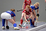 Mannheim, Germany, January 07: During the 1. Bundesliga Damen Hallensaison 2017/18 Sued  hockey match between Mannheimer HC (blue) and Nuernberger HTC (red) on January 7, 2018 at Irma-Roechling-Halle in Mannheim, Germany. Final score 8-1 (HT 5-1). (Photo by Dirk Markgraf / www.265-images.com) *** Local caption *** Nina Hasselmann #12 of Nuernberger HTC, Lydia Haase #12 of Mannheimer HC
