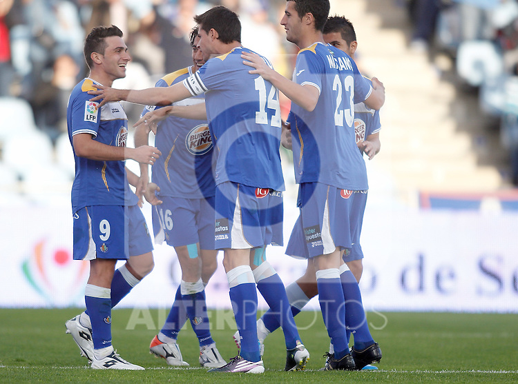Getafe's Adrian Colunga celebrates during La Liga match. October 24, 2010. (ALTERPHOTOS/Alvaro Hernandez)