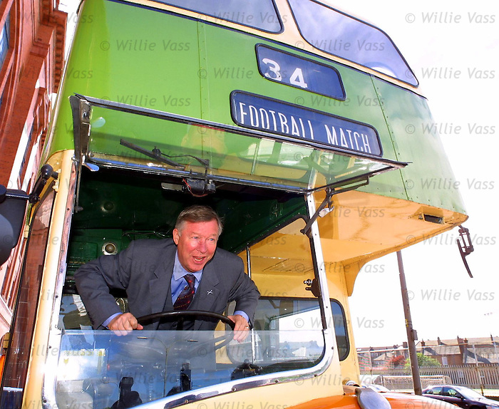 Sir Alex Ferguson in a Govan bus outside Ibrox Stadium, 2000