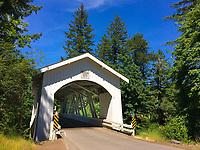 The Hannah Bridge spans Thomas Creek just 1.5 miles from Jordan, Oregon in Linn County Oregon
