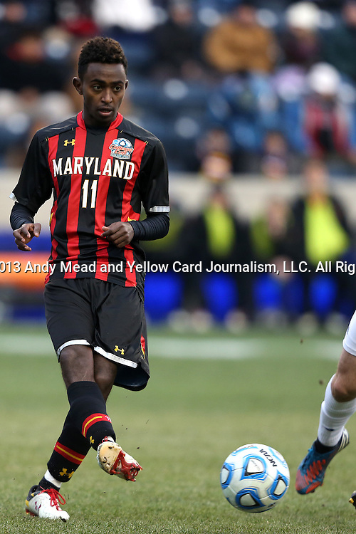 15 December 2013: Maryland's Mikias Eticha. The University of Maryland Terripans played the University of Notre Dame Fighting Irish at PPL Park in Chester, Pennsylvania in a 2013 NCAA Division I Men's College Cup championship match. Notre Dame won the game 2-1.