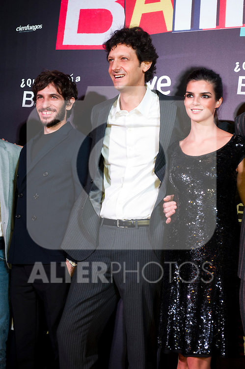 Actor Quim Gutierrez, actor Enrico Vecchi and actress Clara Lago (left ro right) attend the premiere photocall of the movie '¿Quien mato a Bambi?' at Cine Comedia on November 7, 2013 in Barcelona, Spain. (ALTERPHOTOS/Alex Caparros)