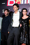 Actor Quim Gutierrez, actor Enrico Vecchi and actress Clara Lago (left ro right) attend the premiere photocall of the movie '¿Quien mato a Bambi?' at Cine Comedia on November 7, 2013 in Barcelona, Spain. (ALTERPHOTOS/Alex Caparros)