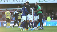 Brentford players celebrate their victory at the final whistle during Brentford vs Millwall, Sky Bet EFL Championship Football at Griffin Park on 19th October 2019