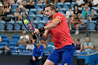 7th January 2020; Sydney Olympic Park Tennis Centre, Sydney, New South Wales, Australia; ATP Cup Australia, Sydney, Day 5; Great Britain versus Moldova; Cameron Norrie of Great Britain versus Alexander Cozbinov of Moldova; Alexander Cozbinov of Moldova hits a volley to Cameron Norrie of Great Britain - Editorial Use