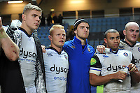 Tom Ellis, Tom Homer, Ollie Devoto, Jonathan Joseph and Matt Garvey look on after the match. European Rugby Champions Cup match, between Wasps and Bath Rugby on December 13, 2015 at the Ricoh Arena in Coventry, England. Photo by: Patrick Khachfe / Onside Images