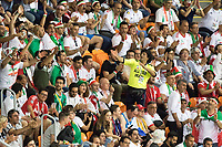 SARANSK, RUSSIA - June 25, 2018: Iran fans cheer during the 2018 FIFA World Cup group stage match between Iran and Portugal at Mordovia Arena.