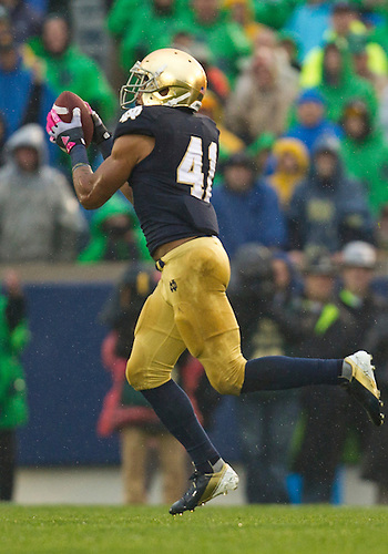 October 13, 2012:  Notre Dame safety Matthias Farley (41) interceptions the ball during NCAA Football game action between the Notre Dame Fighting Irish and the Stanford Cardinal at Notre Dame Stadium in South Bend, Indiana.  Notre Dame defeated Stanford 20-13.