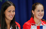 Tenis, Fed Cup 2011, play-off for group A.Slovakia Vs. Serbia, Official Draw.Ana Ivanovic, left and Bojana Jovanovska.Bratislava, 15.04.2011..foto: Srdjan Stevanovic/Starsportphoto ©
