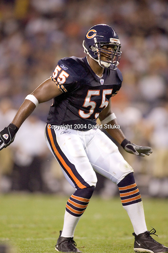 Chicago Bears linebacker Lance Briggs (55) during an NFL football game against the New Orleans Saints at Soldier Field on August 27, 2004 in Chicago, Illinois. The Saints beat the Bears 17-13. (Photo by David Stluka)