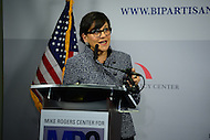 Washington, DC - May 18, 2016: U.S. Secretary of Commerce Penny Pritzker speaks about global digital and cyber security and how it affects the United States in government and commerce during a discussion at the Bipartisan Policy Center in the District of Columbia, May 18, 2016.  (Photo by Don Baxter/Media Images International)