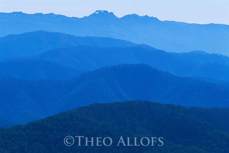 Australia, Victoria, Alpine National Park, Australian Alps, successive mountain ridges at dawn, view from Mt. Hotham