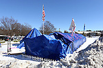 24 January 2016: Most of the tents survived a storm that dropped 3 inches of sleet on Durham. Krzyzewskiville, a Duke student campground next to Cameron Indoor Stadium in Durham, North Carolina.