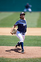 Binghamton Rumble Ponies relief pitcher Daniel Zamora (30) delivers a pitch during a game against the Altoona Curve on June 14, 2018 at NYSEG Stadium in Binghamton, New York.  Altoona defeated Binghamton 9-2.  (Mike Janes/Four Seam Images)