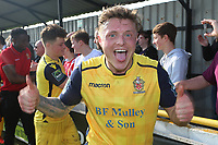 George Purcell celebrates promotion during Witham Town vs AFC Hornchurch, Bostik League Division 1 North Football at Spa Road on 14th April 2018
