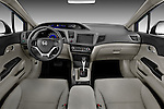 Straight angle dashboard view of a 2012 Honda Civic Sedan DX