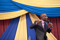Pastor David Adeoye preaches during Easter Sunday services at Nairobi's Winner's Chapel, a fast growing evangelical Christian Church, founded in Nigeria.