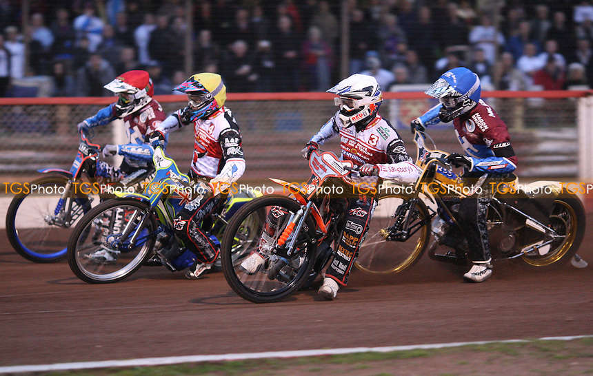 Heat 3: Simon Stead (white), Jason Doyle (yellow), Davey Watt (red) and Kim Nilsson (blue) - Lakeside Hammers vs Swindon Robins, Elite League Speedway at the Arena Essex Raceway, Pufleet - 18/05/12 - MANDATORY CREDIT: Rob Newell/TGSPHOTO - Self billing applies where appropriate - 0845 094 6026 - contact@tgsphoto.co.uk - NO UNPAID USE..