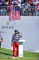 Daniel Berger (USA) is introduced on the first tee during round 4 Singles of the 2017 President's Cup, Liberty National Golf Club, Jersey City, New Jersey, USA. 10/1/2017. <br /> Picture: Golffile | Ken Murray<br /> <br /> All photo usage must carry mandatory copyright credit (&copy; Golffile | Ken Murray)