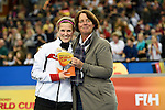 Leipzig, Germany, February 08: Katharina Otte of Germany holds up the trophy of the Best Player of the FIH Indoor Hockey Women World Cup on February 8, 2015 at the Arena Leipzig in Leipzig, Germany. (Photo by Dirk Markgraf / www.265-images.com) *** Local caption ***