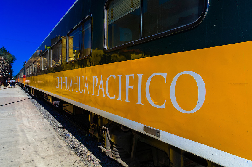 The Chihuahua al Pacifico railroad (Chepe) train arriving at San Rafael, Copper Canyon, Mexico