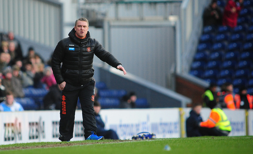 Blackpool manager Lee Clark shouts instructions to his team from the dug-out<br /> <br /> Photographer Chris Vaughan/CameraSport<br /> <br /> Football - The Football League Sky Bet Championship - Blackburn Rovers v Blackpool - Saturday 21st February 2015 - Ewood Park - Blackburn<br /> <br /> &copy; CameraSport - 43 Linden Ave. Countesthorpe. Leicester. England. LE8 5PG - Tel: +44 (0) 116 277 4147 - admin@camerasport.com - www.camerasport.com