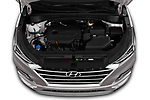 Car Stock 2019 Hyundai Tucson Inspire 5 Door SUV Engine  high angle detail view