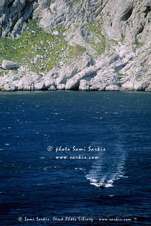 Speedboat off the coast of Maire Island, Marseille, France.
