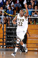 12 November 2010:  FIU's Brandon Moore (22) celebrates after sinking a basket in the first half as the FIU Golden Panthers defeated the Florida Memorial Lions, 89-73, at the U.S. Century Bank Arena in Miami, Florida.