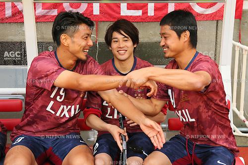 (L-R) Yuzo Tashiro, Atsuto Uchida, Mitsuo Ogasawara, <br /> JULY 5, 2015 - Football / Soccer : <br /> A farewell game of Koji Nakata, Atsushi Yanagisawa and Toru Araiba <br /> at Kashima Soccer Stadium in Ibaraki, Japan. <br /> (Photo by Yohei Osada/AFLO SPORT)