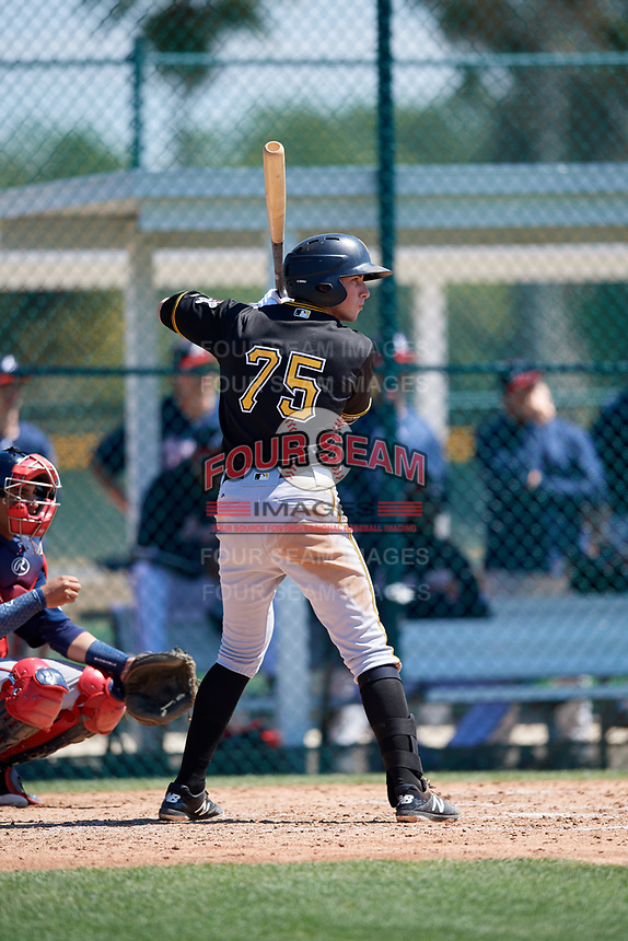 Pittsburgh Pirates Brett Pope (75) during a minor league Spring Training game against the Atlanta Braves on March 13, 2018 at Pirate City in Bradenton, Florida.  (Mike Janes/Four Seam Images)