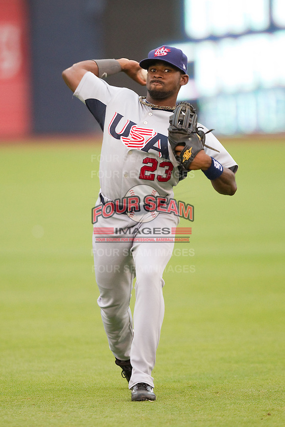 Jackie Bradley Jr. #23 of Team USA warms up in the outfield prior to taking on Team Korea at Durham Bulls Athletic Park July 17, 2010, in Durham, North Carolina.  Photo by Brian Westerholt / Four Seam Images