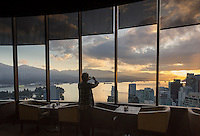 skyline sunrise from Empire Landmark hotel restaurant, Vancouver, BC, Canada