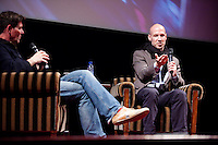 Amsterdam, 25 april 2013.IDFA Screening Dirty Wars at Tuschinski: Director Rick Rowley being interviewed by Twan Huys..Foto Felix Kalkman