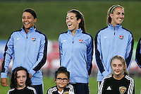 Piscataway, NJ - Sunday Sept. 25, 2016: Samantha Kerr, Kelley O'Hara, Sarah Killion prior to a regular season National Women's Soccer League (NWSL) match between Sky Blue FC and the Portland Thorns FC at Yurcak Field.