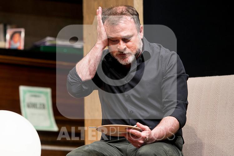 Xavi Mira during theater play of &quot;Los vecinos de arriba&quot; at Teatro Circulo de Bellas Artes in Madrid, April 25, 2017. Spain.<br /> (ALTERPHOTOS/BorjaB.Hojas)