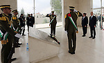 Palestinian Prime Minister Rami Hamdallah arrives with French Prime Minister Manuel Valls to lay a wreath at the tomb of the late Palestinian leader Yasser Arafat at the Muqataa, the Palestinian Authority headquarters, in the West Bank city of Ramallah, on May 24, 2016.. Photo by Prime Minister Office