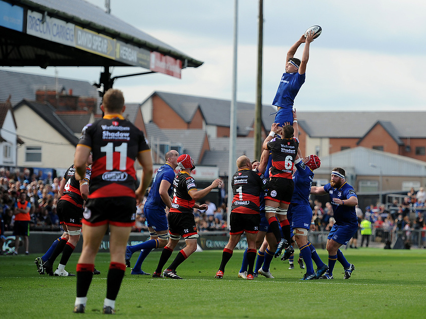 Leinster's Max Deegan in action during todays match<br /> <br /> Photographer Ashley Crowden/CameraSport<br /> <br /> Guinness Pro14 Round 1 - Dragons v Leinster Rugby - Saturday 2nd September 2017 - Rodney Parade - Newport, Wales<br /> <br /> World Copyright &copy; 2017 CameraSport. All rights reserved. 43 Linden Ave. Countesthorpe. Leicester. England. LE8 5PG - Tel: +44 (0) 116 277 4147 - admin@camerasport.com - www.camerasport.com