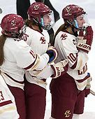 Caitrin Lonergan (BC - 11), Andie Anastos (BC - 23), Kali Flanagan (BC - 10) -  The Boston College Eagles defeated the University of Vermont Catamounts 4-3 in double overtime in their Hockey East semi-final on Saturday, March 4, 2017, at Walter Brown Arena in Boston, Massachusetts.