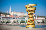 Hungary will host the Grande Partenza of Giro d'Italia 2020. This afternoon in Budapest the Trofeo Senza Fine went on a tour of the city's landmarks. 15th April 2019.<br /> Picture: Lounge Design | Cyclefile<br /> <br /> All photos usage must carry mandatory copyright credit (© Cyclefile | Lounge Design)