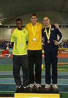 Photo: Tony Oudot/Richard Lane Photography. Aviva World Trials & UK Championships. 14/02/2010. .Mens 400m. .L to R: Nigel Levine (silver), Richard Buck (gold) and Luke Lennon Ford (bronze).