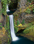 Umpqua National Forest, OR <br /> Toketee Falls plunges thirty feet then ninety feet over a sheer wall of basalt into the North Umpqua River. (Toketee is an Indian word meaning graceful)