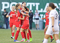Portland, OR - Wednesday June 28, 2017: Thorns celebrate a goal during a regular season National Women's Soccer League (NWSL) match between the Portland Thorns FC and FC Kansas City at Providence Park.