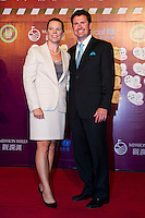 HAIKOU, CHINA - OCTOBER 29:  Annika Sorenstam and her husband attend red carpet during day three of the Mission Hills Start Trophy tournament at Mission Hills Resort on October 29, 2010 in Haikou, China. Photo by Victor Fraile / studioEAST