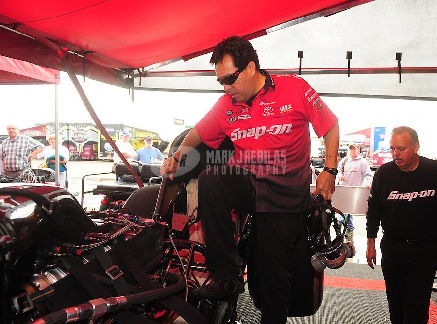 May 20, 2011; Topeka, KS, USA: NHRA funny car driver Cruz Pedregon during qualifying for the Summer Nationals at Heartland Park Topeka. Mandatory Credit: Mark J. Rebilas-